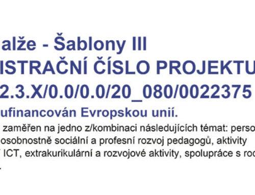 ZŠ Halže – šablony III plakát publicity projektu